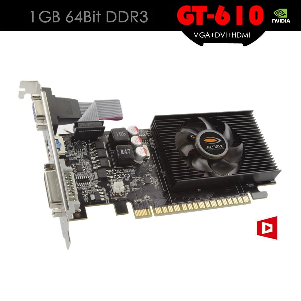 ALSEYE Fan and heatsink Video Card GeForce GPU GT 610 1GB 64Bit DDR3 Graphic Cards for Computer Support VGA+DVI+HDMI yeston geforce gtx 1050 gpu 2gb gddr5 128 bit gaming desktop computer pc video graphics cards support pci e x16 3 0