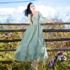 New High Quality Explosions Leisure Vintage color matching Dresses Women  print  Spring  Casual  Dress 3