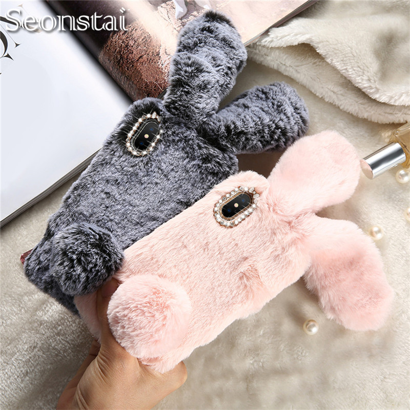 For iPhone X Rabbit Ear Furry Case for iPhone 8 8Plus