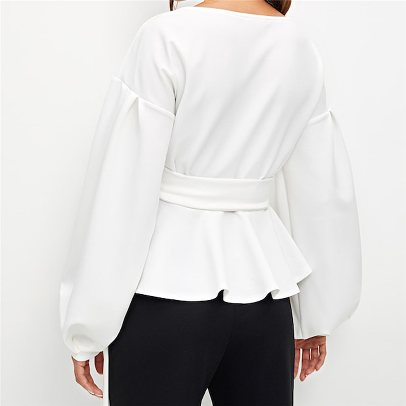 New Sping Style Fashion Women Long Sleeve Strapless V-Neck Lantern Sleeve Bow Belt Bandage Tops Lady Cute Sexy Tops R15 (10)