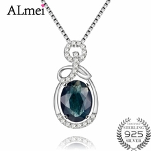 Almei 1.5ct Oval Dark Blue Sapphire Gemstone Halo Solitaire Pendant 925 Sterling Silver Fine Jewelry for Women with Box CN067
