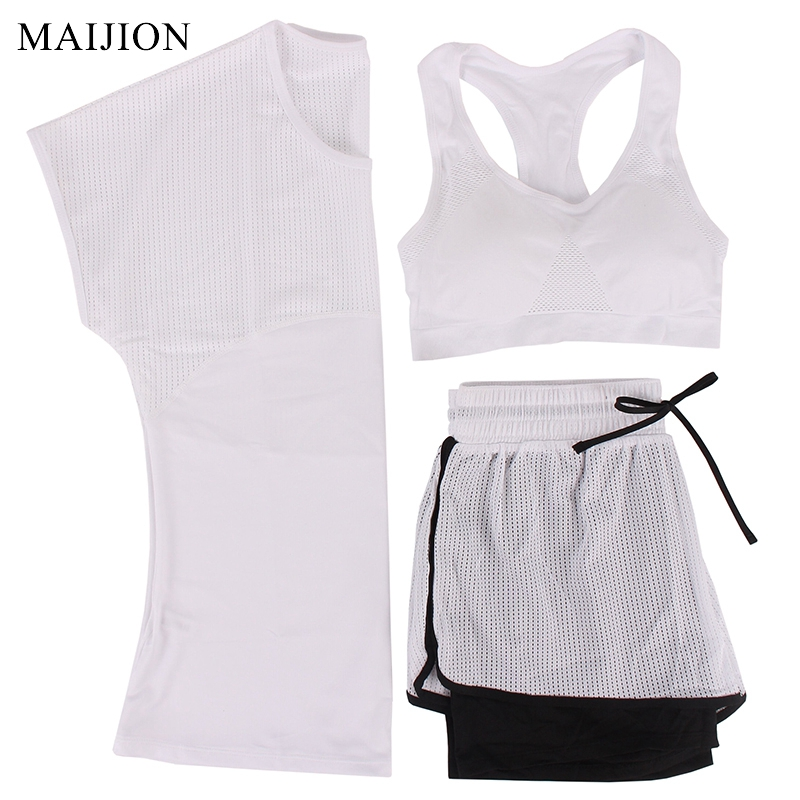 MAIJION 3Pcs Women Sports Running Set Yoga T Shirt Tops&Shorts&Bra Set Quick Dry Gym Fitness Yoga Set Workout Sportswear Suit 1
