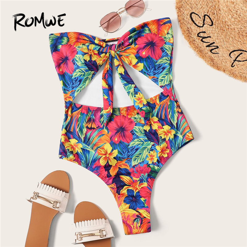 Romwe One-Piece Swimsuit Bikinis-Set Bandeau Sport Women Summer Front Knot Cut-Out-Tie