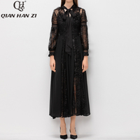 Qian Han zi 2020 runway Maxi dress Women's Lantern Sleeve Feather Bow Collar quality embroidery Retro Party plus size long dress