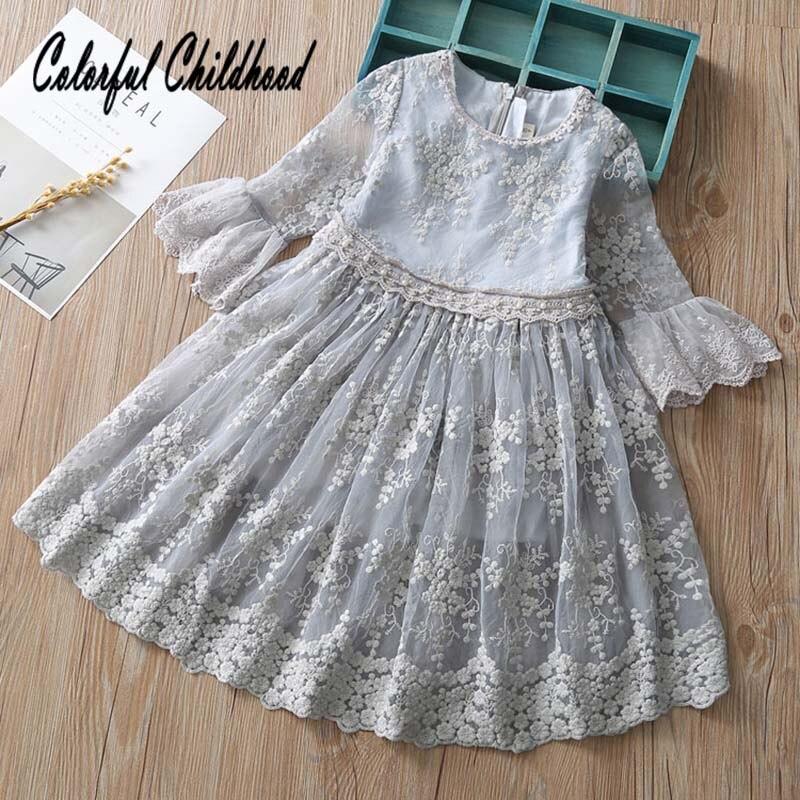 2018 primavera otoño tesoro de encaje bebé vestido de fiesta boda cumpleaños vestidos de niña de manga larga vestido de princesa ropa de bebé