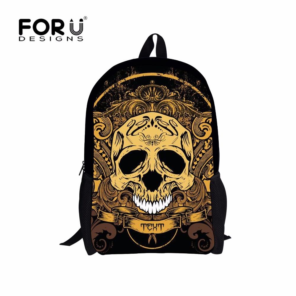 FORUDESIGNS Vintage 3D Skull Women Backpack Punk Style Bagpack School Backpacks For Teenage Boys Bolsas Mochila Men Travel Bags