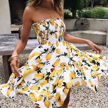 2018 летнее пляжное платье Для женщин Повседневное пикантные Цветочный принт Мини-платья желтый с плеча леди без бретелек спинки Мода новая распродажа