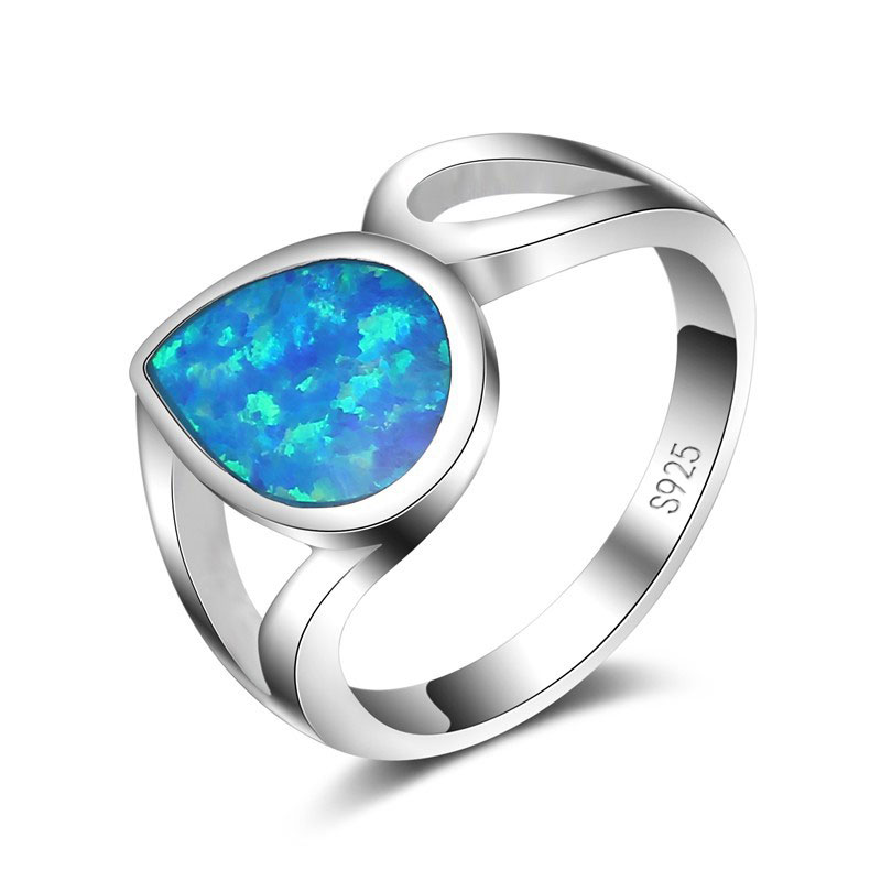 Classic Water Drop Blue Fire Opal 925 Sterling Silver Women Rings For Wedding Engagement Fine Jewelry Valentine's Day Gif