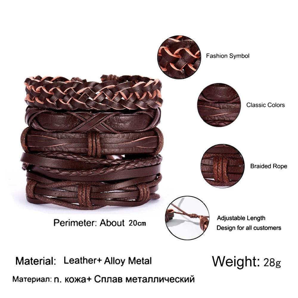 Pulseras multicapa cuero hecho a mano pulseras hombre