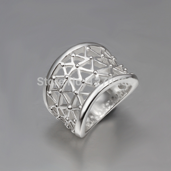 2015 new design silver finger rings hollow type beautiful jewelry with high quality