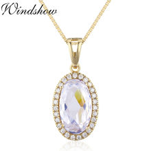 Big Bold Oval Clear White CZ Accent Suspension Necklaces & Pendants Chain Necklace Women Jewelry Collares pingente kolye collier(China)