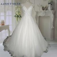 2016 White Beading Wedding Dresses Backless Lace Bridal Gowns Real Image Vestido De Noiva Robe De