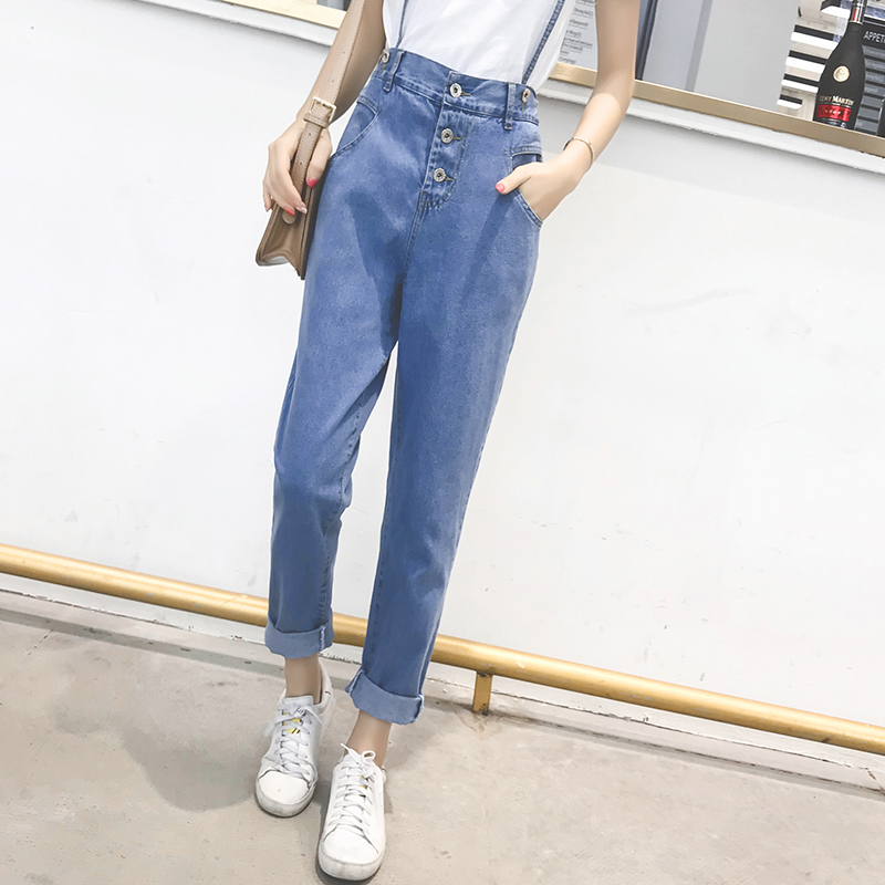 Pengpious elastic high waist denim pants overalls women removable strap loose design Korean fashion designer denim