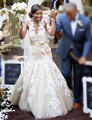 Elegante do Vintage lace applique illusion trumpet queda tulle vestido de noiva cor champanhe sereia tulle árabe do vestido de casamento