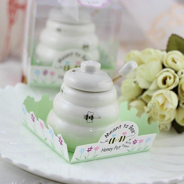 Free Shipping 100 Pcs Ceramic Meant To Bee Honey Jar Honey Pot
