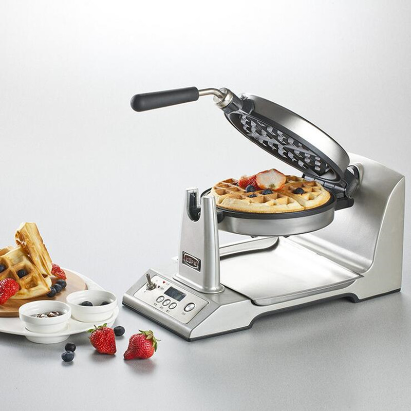 220V Stainless Steel Electric Waffle Maker Machine Multifunctional Non-stick Rotatable Electric Baking Pan LCD & Double Heating cukyi household electric multi function cooker 220v stainless steel colorful stew cook steam machine 5 in 1