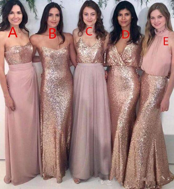 2019   Bridesmaid     Dresses   For Women A-line Spaghetti Straps Tulle Sequins Long Cheap Under 50 Wedding Party   Dresses