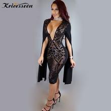 Kricesseen Sparkle negro lentejuelas Bodycon Mini vestido Vintage Glam chal mangas de hendidura lentejuelas vestido de fiesta ocasión especial trajes
