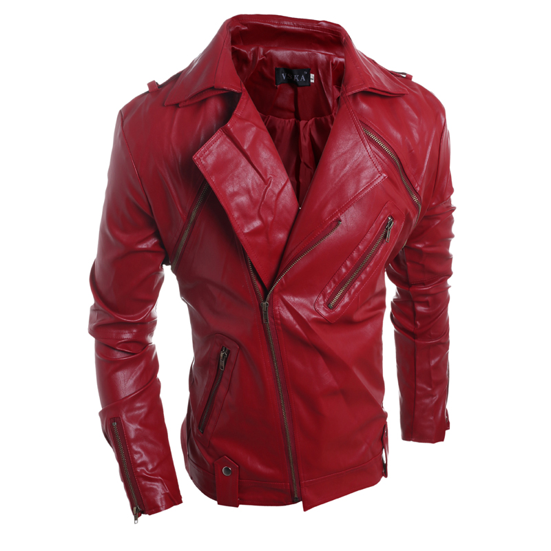 Mens red leather jacket for sale