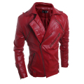 2016 Brand Men's Popular Handsome PU Leather Jacket Punk New Red Leather Jackets Zipper Men Chupas De Cuero Hombre