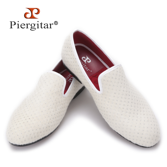 Piergitar 2017 new arrival Handmade men white velvet shoes with small Rhinestones Party and wedding men loafers plus size flats