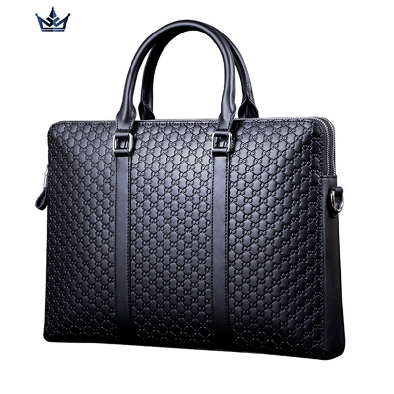 Portable commercial briefcase, stamp pattern cowhide man bag leather briefcase, luxury h ...