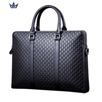 Portable commercial briefcase, stamp pattern cowhide man bag leather briefcase, luxury handbag