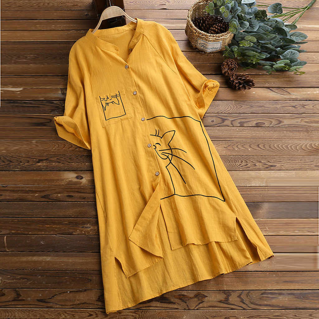 Women Plus Size blouse Dress Loose Linen Swing Vintage Pocket Cat Print Tops Shirt Blouse womens blouses camisas mujer#G