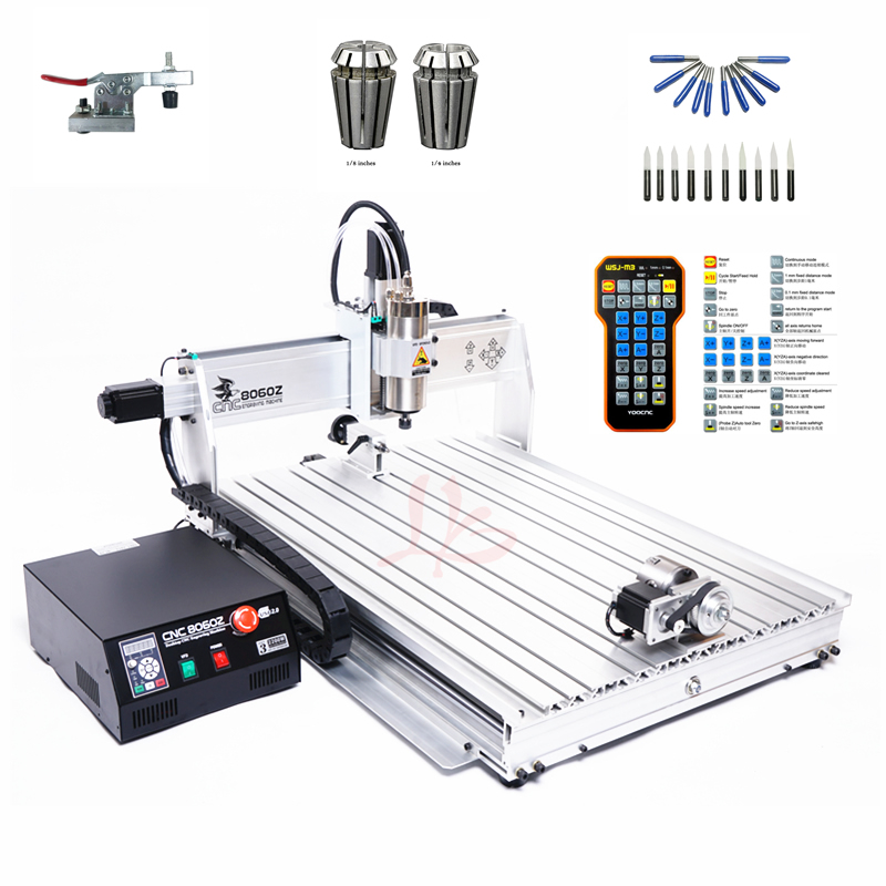 4 axis cnc 3040 2200w spindle 3 axis metal engraving machine er20 collet wood router with limit switch and free cutter 4 AXIS mini cnc router 8060 2200W spindle metal engraving carving machine with limit switch and remote free cutter er16 collet