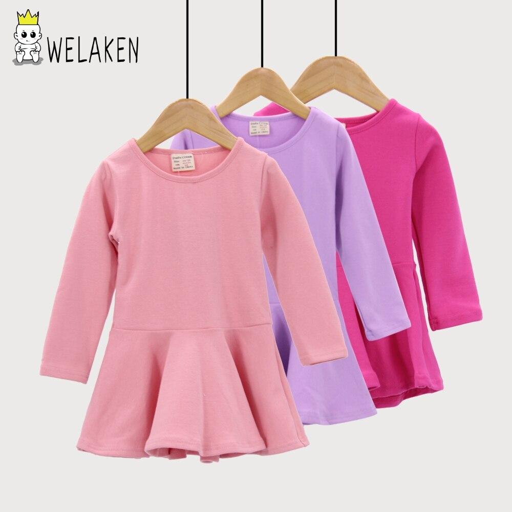 WeLaken 2018 Enfant Robe Printemps Automne De Couleur de Sucrerie Bébé Fille Volants Princess Party Robe de Casual Enfants Vêtements Filles Robes