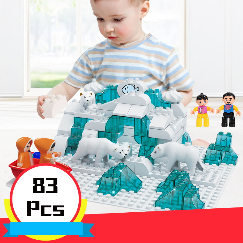 72 97Pcs Duploe Slide Bricks Snow House Ice Pole Cottage 3 IN 1 Castle Models Building Blocks Compatible Legoings City Kid Toys
