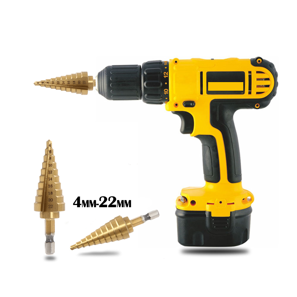 4-22MM HSS High Speed Steel 4241 Hex Titanium Step Drill Cone Drill Bit Hole Cutter for Sheet Metal Wood Drilling Power Tools 3pcs hss 4241 step cone drill bit set 1 4 hex shank titanium coated wood hole cutter 6 9 13 steps for power tools