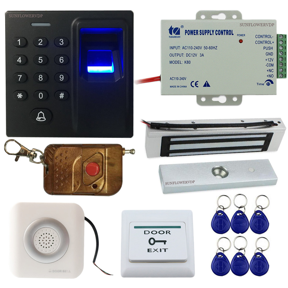 Fingeprint Keypad Rfid Access Control Automatic Gate Opener +Magnetic lock+ Wired Door Bell+Wireless Remote Control+Power Supply access control wireless keypad door lock with ge rcv1 receiver for automatic door gate opener