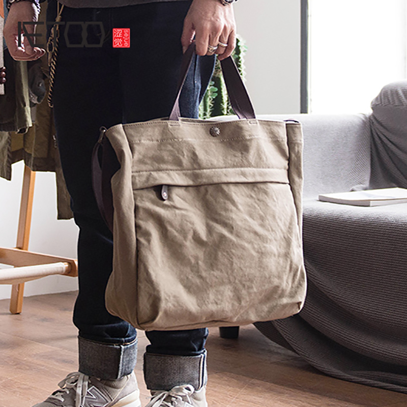 AETOO Elegant and fashionable canvas tote bag men s large capacity tote bag women s versatile