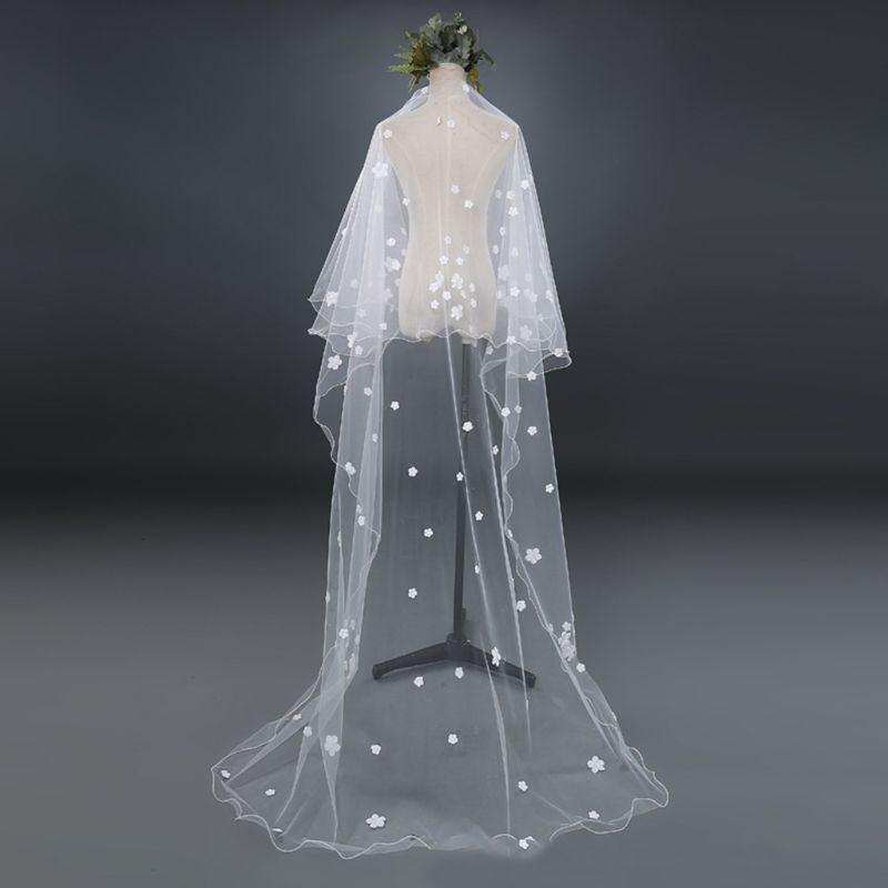 Tulle Wedding Dress Veils White Flowers Super Long Bridal Hair Veil Bride Fairy Marriage Accessories