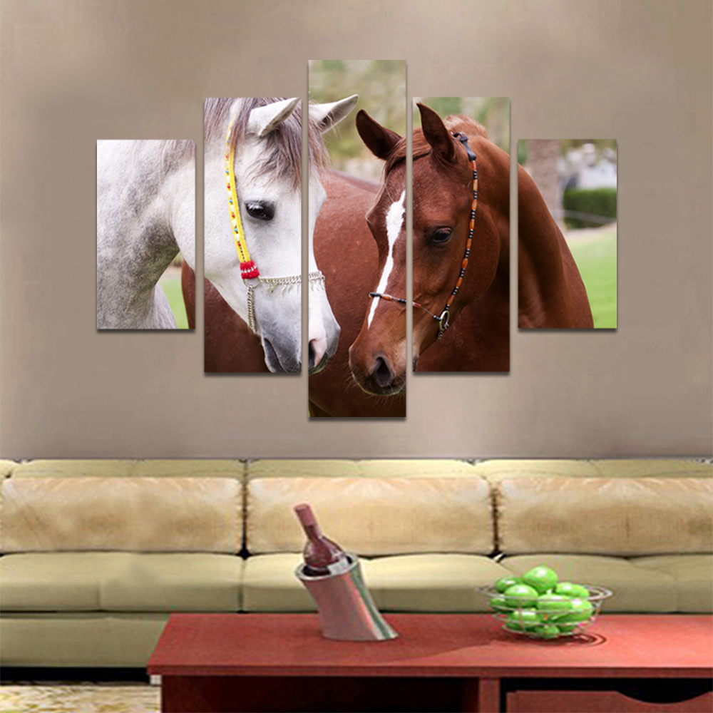 Unframed Canvas Animal Painting Meadow Two Horses Picture Prints Wall Picture For Living Room Wall Art Decoration
