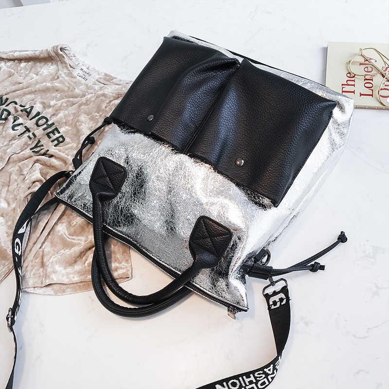 Toposhine Kapasitas Besar Tas Wanita Fashion Tas Belanja Double Saku Gadis Kasual Tote 2019 Wanita Muda Tas Tangan Tas Bahu