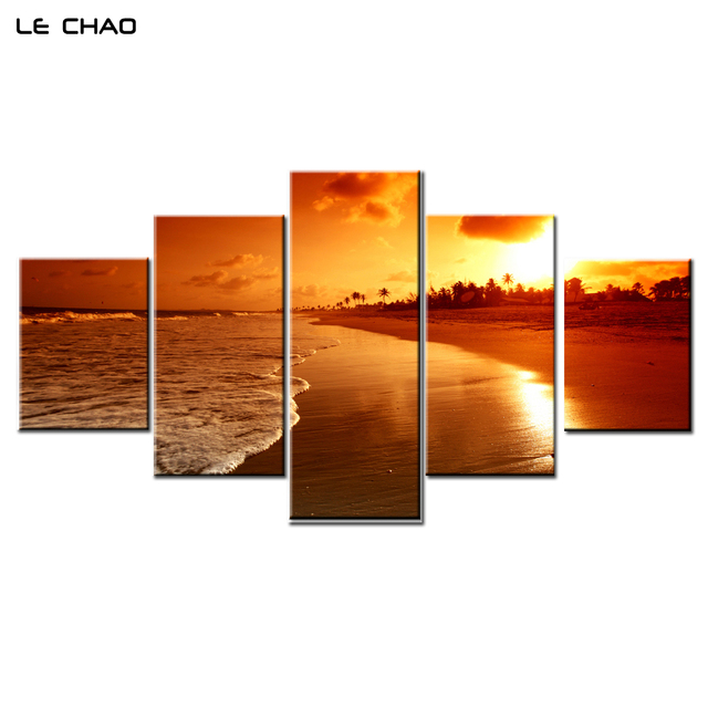 LE CHAO Wall Art Canvas Painting Beach Sunset Canvas Painting Wall Pictures for Living Posters and  sc 1 st  AliExpress.com & LE CHAO Wall Art Canvas Painting Beach Sunset Canvas Painting Wall ...