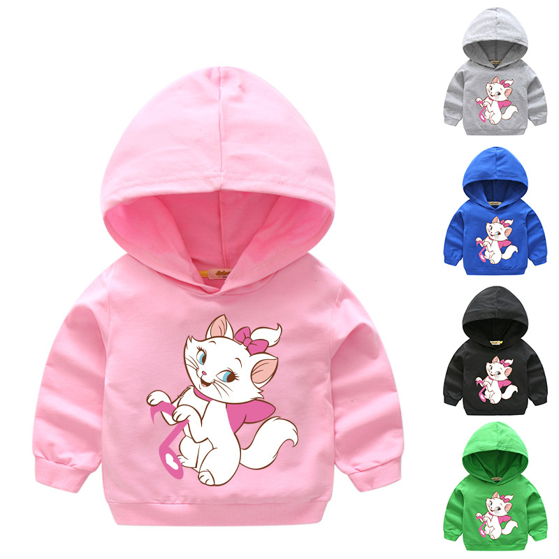 2018 Girl Spring Outdoor Hooded Clothes For Kids Long Sleeve Hoody Baby 100%Cotton Hoodies Children Marie Cat Sweatshirts HD010 1