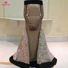 New Arrival Women Formal Dresses Sexy Boat Neck Cap Sleeve Lace Floor Length Stretch Satin Arabic Style Evening Gowns 2016