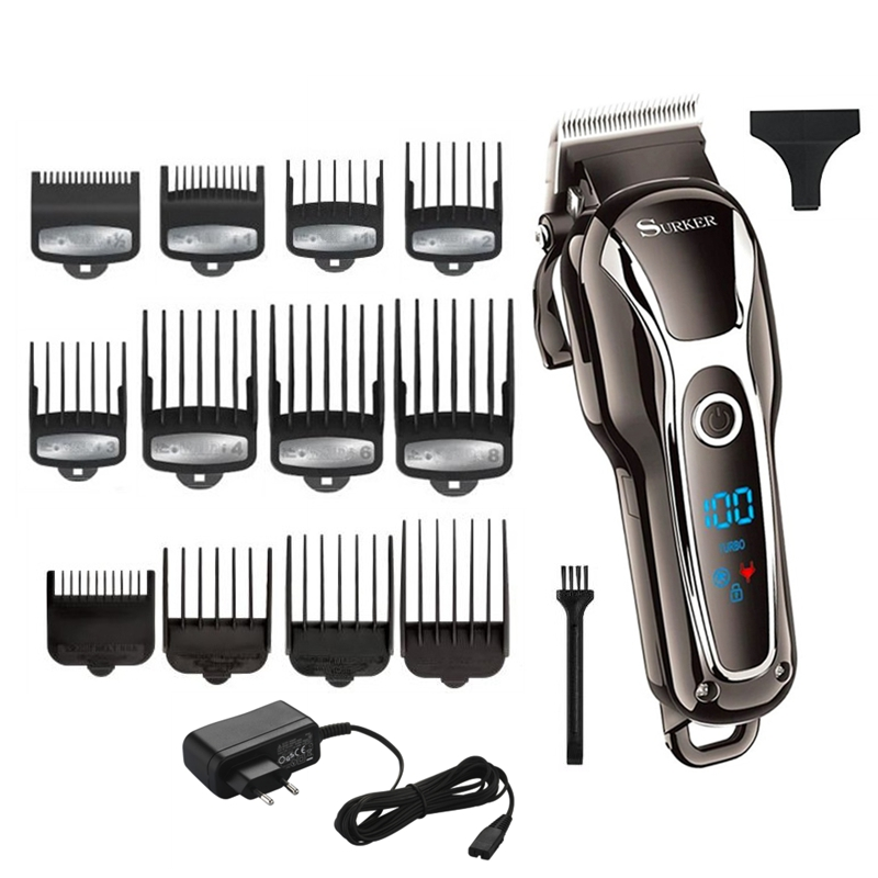 TURBO barber hair clipper professional men hair trimmer LCD electric hair cutting machine salon tool haircut cord&cordlessHair Trimmers   -