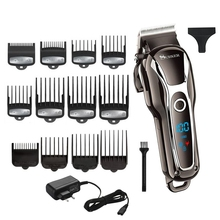 TURBO berber saç kesme makinesi profesyonel erkekler saç düzeltici LCD elektrikli saç kesme makinesi salon aracı saç kesimi kordon ve akülü