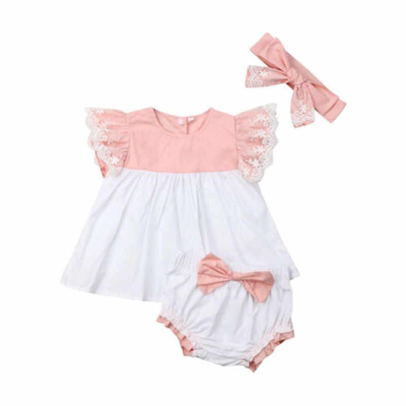 Yaz Toddler Bebek Kız Giysileri Set Fly Kol Dantel Patchwork Prenses Tops Elbise + Ilmek Şort Bandı 3 Adet Giyim 0-24 M