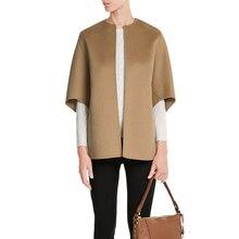 ZADORIN Spring Autumn Coat Women Wool Blend Camel Coat O Nec