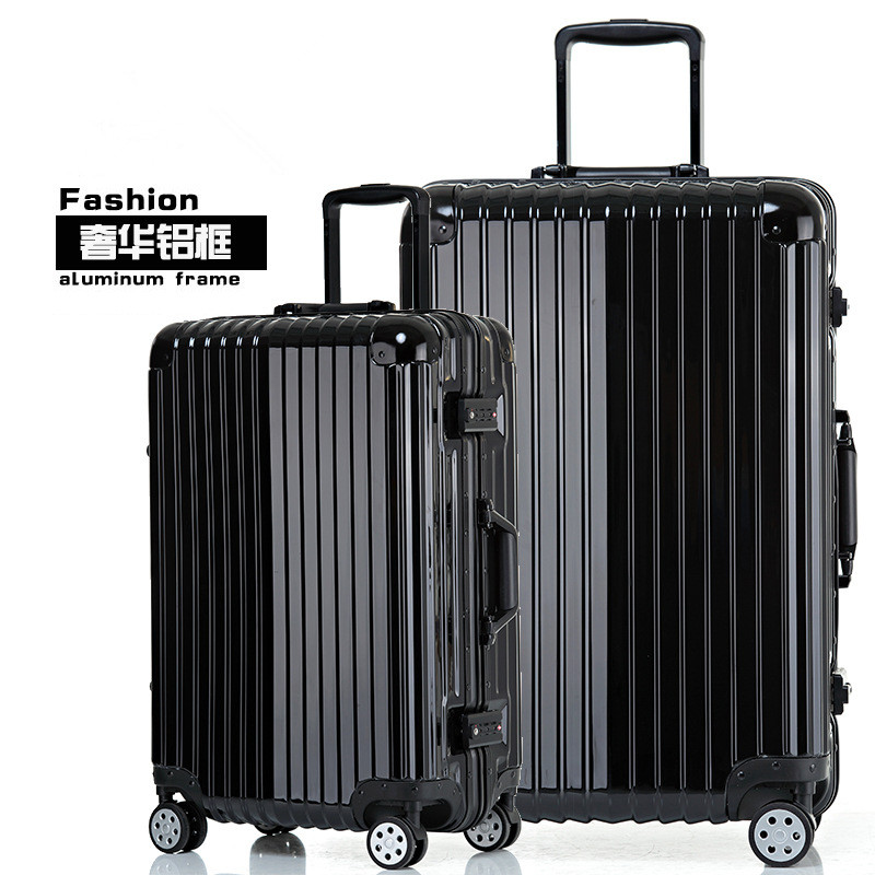 17/20/24/26/29 inches black aluminum frame stick box fashion new trunk universal wheel luggage suitcase card 802