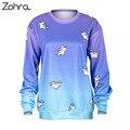 Zohra New Fashion Unicorn Ombre Printed Hoodies Sweatshirt Hoodie Caaual Loose Sudaderas Mujer Pullovers Women Sweatshirts