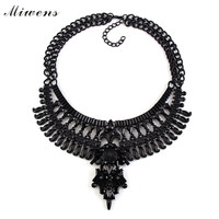 Miwens 2016 New Hot Black Collar Statement Necklaces Pendants Collier Choker Big Vintage Maxi Chunky Necklace