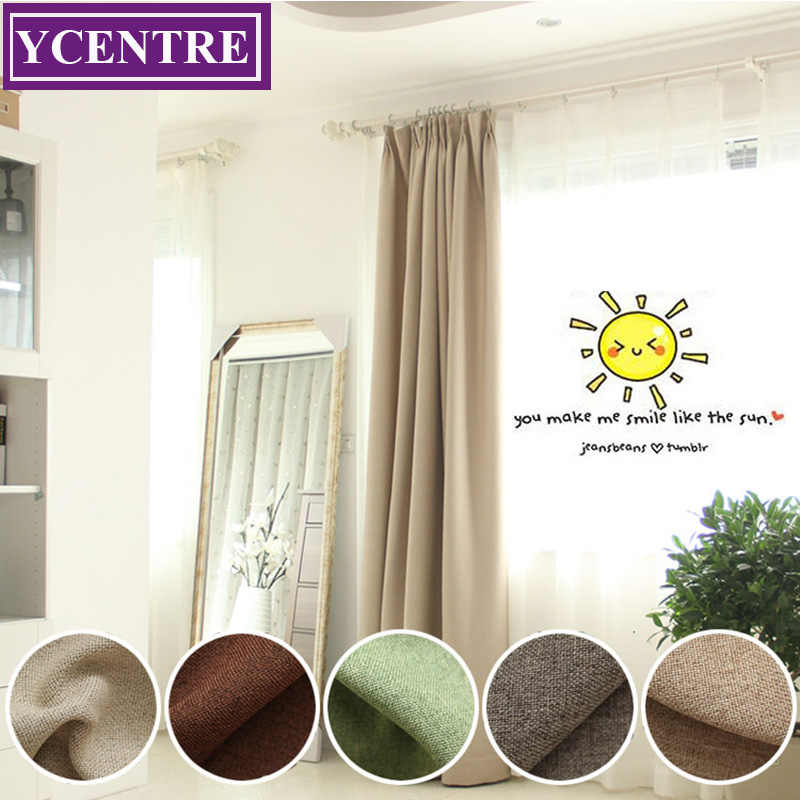 YCENTRE Faux Linen Window Treatment Thermal Insulated Solid Color Living Room Darkening Blackout Curtain/Drapes for Bedroom