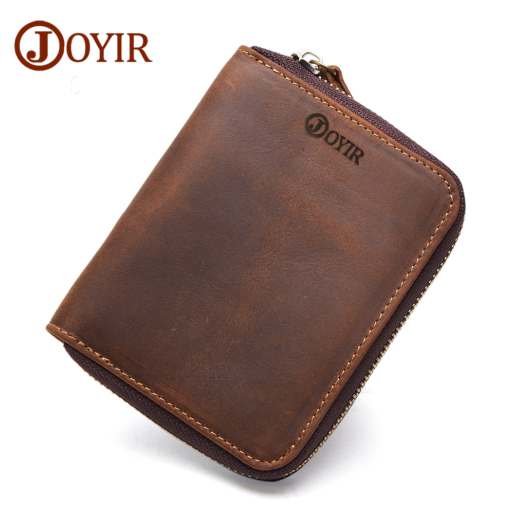 JOYIR Genuine Leather Men Short Zipper Wallets Purse Vintage Crazy Horse Leather Clutch Wallet Money Card Holder Men's Purse New joyir men crazy horse leather wallet genuine cowhide men wallets vintage men s purse card holder coin pocket wallets money purse