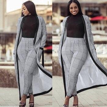 For Women 2 TWO PIECE SET Tie Waist Long Pants Plaid Office Lady Outfit Cloak Maxi Coat Runway Twin Suit X-Long Plus Size Winter